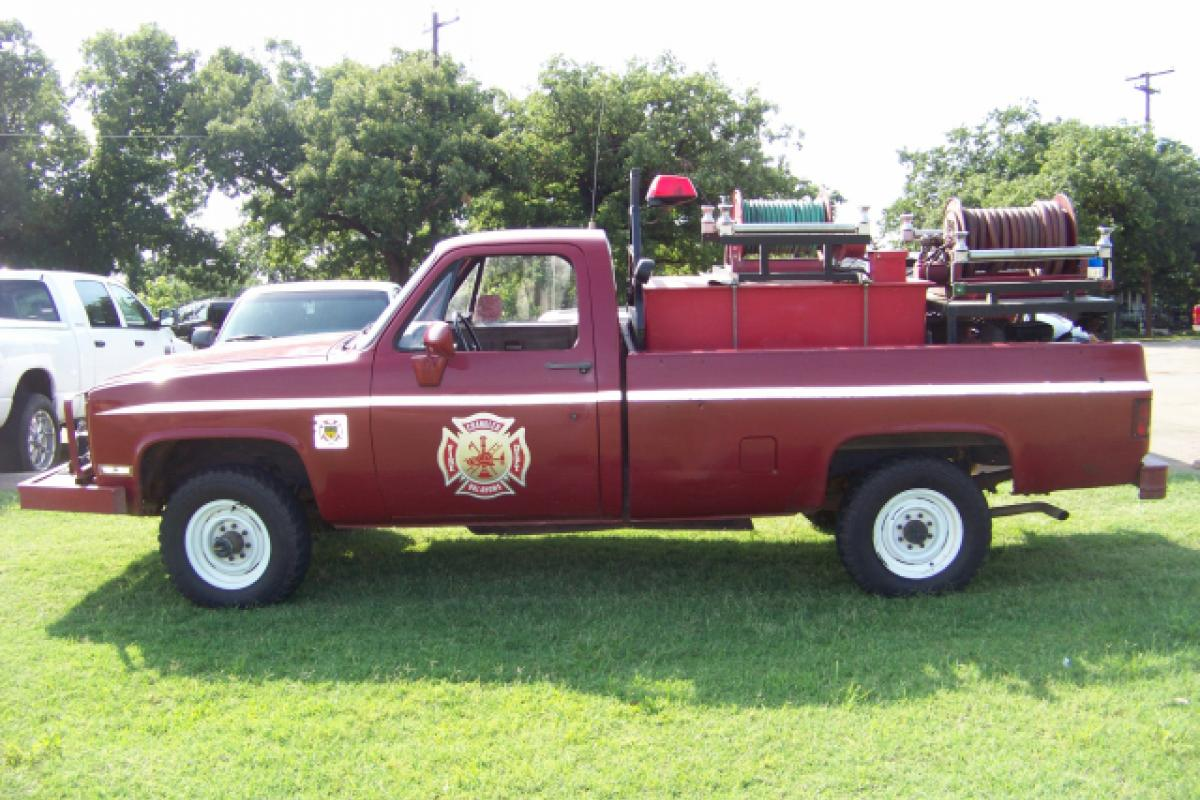 red fire department pickup truck